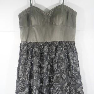 ADRIANNA PAPELL Green/Gold Strapless Rosy Dress 14